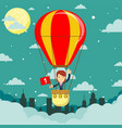businesswoman in hot air balloon vector image