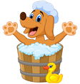 Cartoon Dog bathing in the Dog bathing vector image vector image