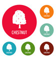 chestnut tree icons circle set vector image vector image
