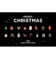 Christmas Greeting Card with lettering icons and vector image vector image
