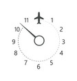 clock with airplane icon designation time vector image