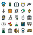 color simple icon collection school education vector image