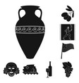 country greece black icons in set collection for vector image