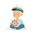 cute smiling little boy character wearing a vector image