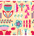 decorative seamless background with flowers bugs vector image vector image