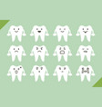 dental set - cute cartoon tooth for design vector image