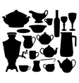 Dishes silhouettes set vector image