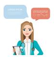 female doctor hospital worker speaking vector image vector image