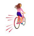 girl riding vintage bicycle retro vector image