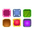 glossy squares set colorful buttons game user vector image vector image