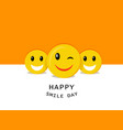 happy smiley day concept background flat style vector image vector image