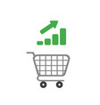 icon concept of shopping cart with bar graph vector image vector image