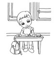 kids do homework in class cartoon coloring page ve vector image