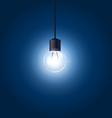Light bulb hanging on cord on blue background vector image vector image