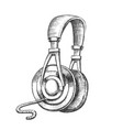 listening audio device cable headphones ink vector image vector image