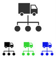lorry distribution scheme flat icon vector image