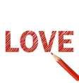 Love word drawn with red pencil vector image