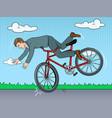 man falling of bicycle pop art vector image
