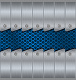 metal background with rivets and blue perforation vector image vector image