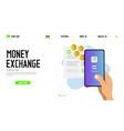 money exchange landing page template design vector image vector image