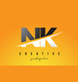 nk n k letter modern logo design with yellow vector image vector image
