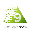 number nine symbol in the colorful triangle vector image