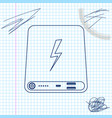 power bank line sketch icon isolated on white vector image vector image