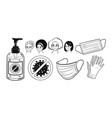 protection items and characters in masks vector image vector image