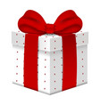 realistic 3d gift box with red bow vector image