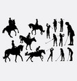 riding horse and golfer sport silhouette vector image
