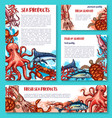seafood poster of sketch fresh fish vector image vector image