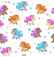 seamless pattern with cute cartoon horses vector image