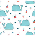 seamless pattern with whales in scandinavian style vector image vector image