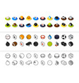 set icons in different style - isometric flat vector image vector image