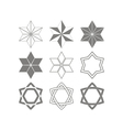 set of monochrome icons with star of David vector image vector image
