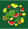 set summer fruits and tropical leaves in flat vector image