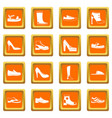 shoe icons set orange vector image vector image