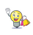 shopping light bulb character cartoon vector image vector image
