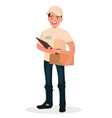 smiling man courier with a parcel vector image vector image