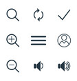 ui icons zoom icon volume icon flat style icon vector image vector image