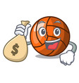 with money bag volleyball character cartoon style vector image vector image