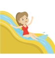 Woman riding down waterslide vector image vector image
