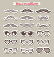 moustaches and glasses vector image
