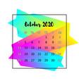 2020 calendar design abstract concept october vector image vector image