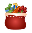 a bag with gifts from santa claus vector image