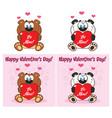 bear and panda cartoon characters collection set vector image vector image