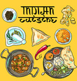 beautiful hand drawn indian food top view vector image