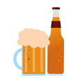 beer bottle and cup vector image