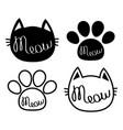 black cat head meow lettering contour text paw vector image vector image
