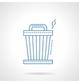 Blue flat line trash can icon vector image vector image